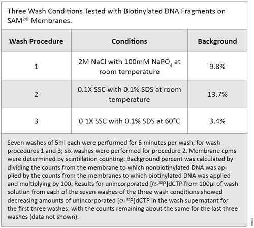 Three Wash Conditions Tested with Biotinylated DNA Fragments on SAM2 Membranes.
